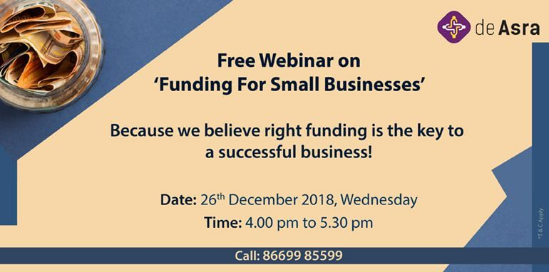 Funding for Small Businesses 26th December deAsra Event